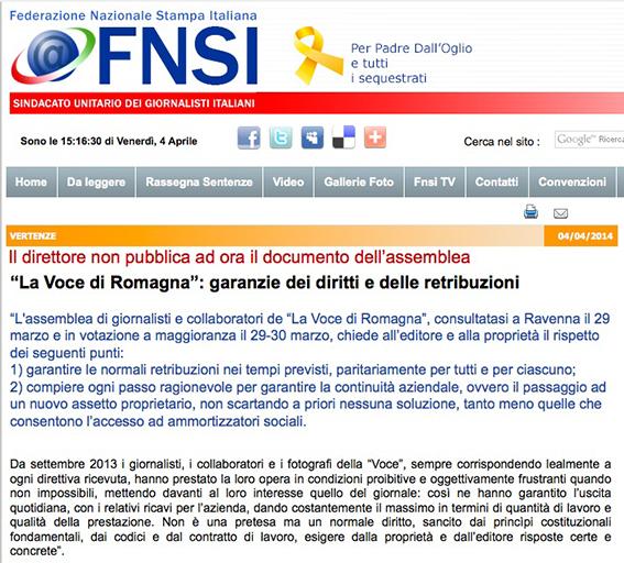 """Fnsi sulla vertenza dei giornalisti de """"La Voce di Romagna"""""""