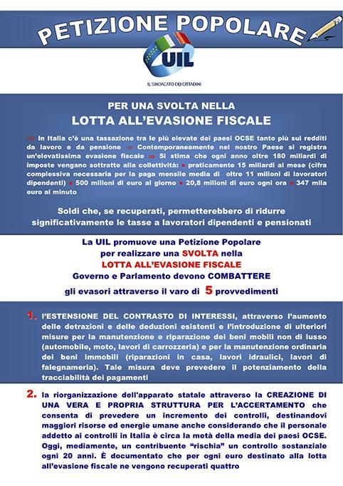Petizione popolare della Uil per la lotta all'evasione fiscale