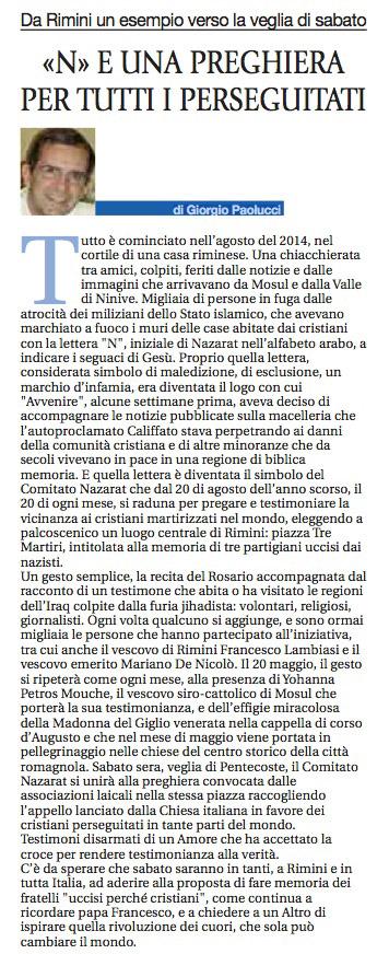 """""""Avvenire"""" battezza come esemplare l'iniziativa del Comitato Nazarat di Rimini"""