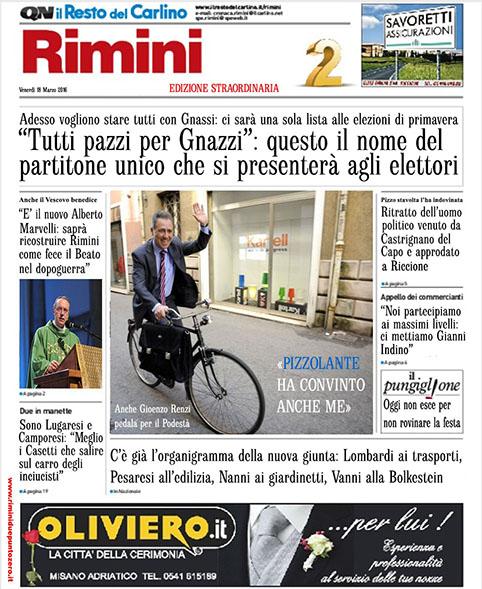"""""""Tutti pazzi per Gnazzi"""": in anteprima l'edizione straordinaria del Carlino di domani"""