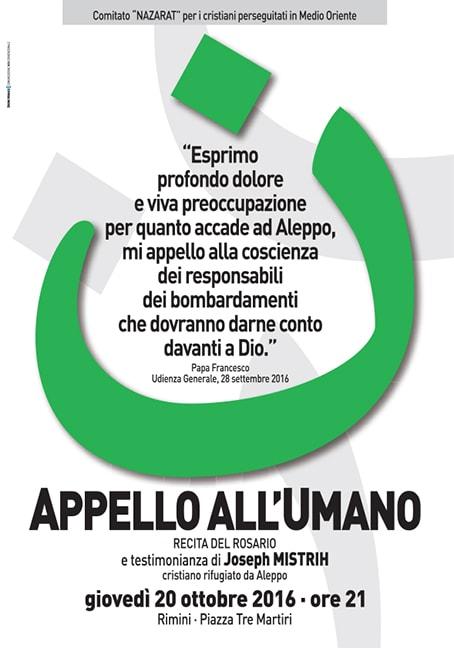 Il 20 ottobre l'Appello all'umano a Rimini e in piazza della Scala a Milano