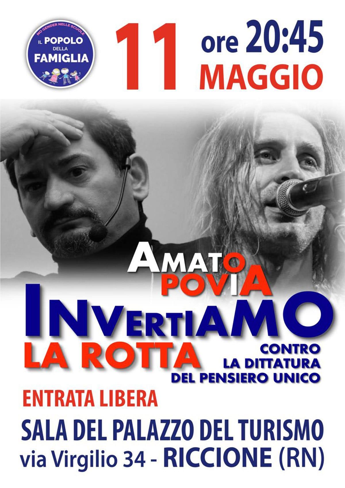 """Povia e Amato a Riccione: """"Contro la dittatura del pensiero unico"""""""