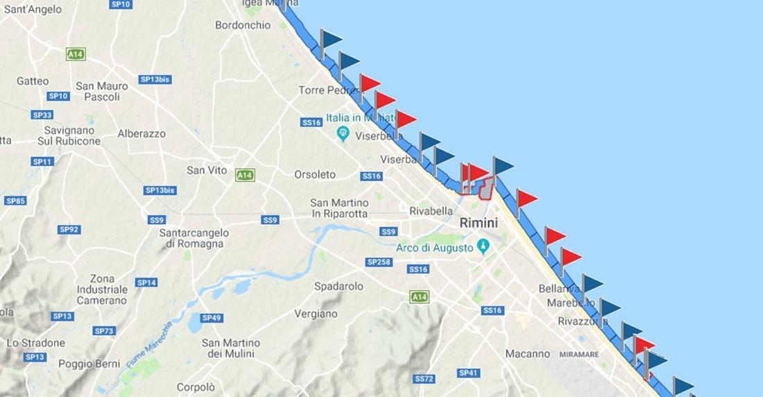 A Rimini bandiera rossa la trionfa: ma è quella del divieto di balneazione per inquinamento fognario