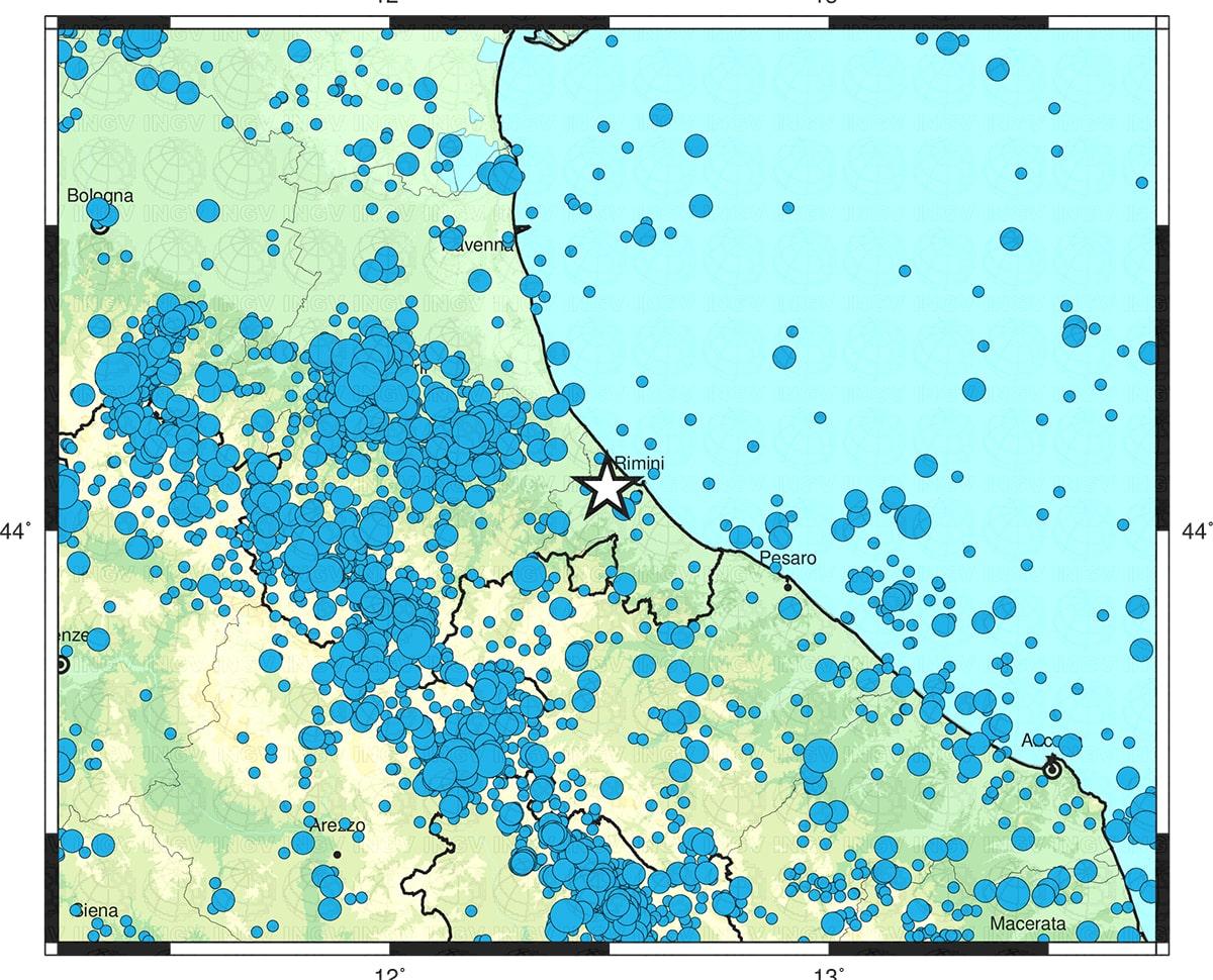 I terremoti che hanno sconvolto la costa riminese