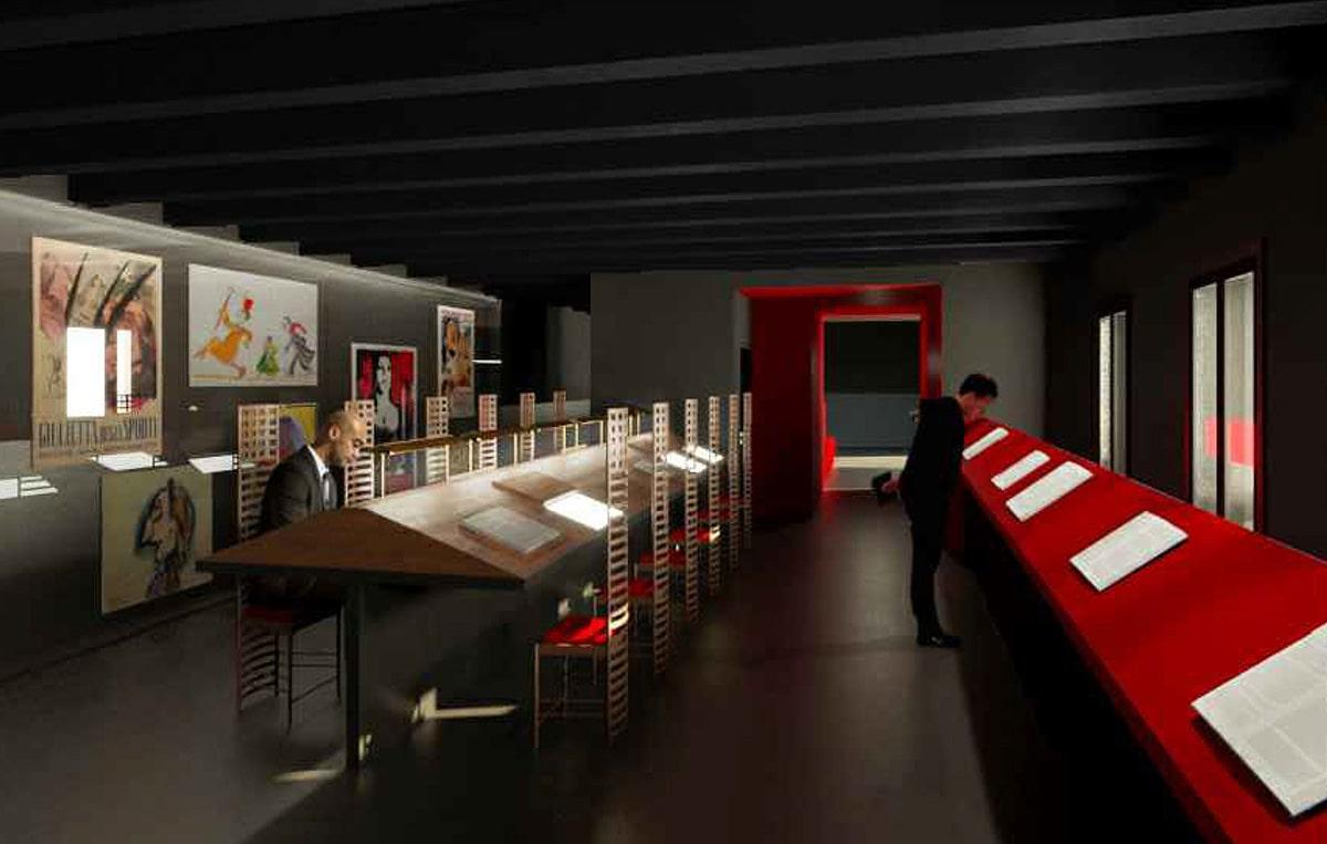 """Allestimenti Museo Fellini: Maggioli in una delle due """"cordate"""""""