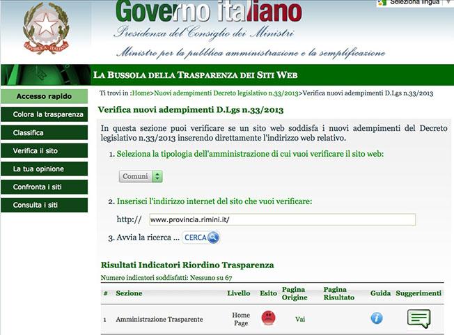 Sulla trasparenza la Provincia di Rimini ha perso la Bussola