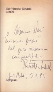 La dedica di Tondelli a Moreno Neri