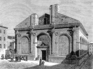 Illustrazione del Tempio Malatestiano in Charles Yriarte, Les Bords de l'Adriatique, 1878, p. 534.