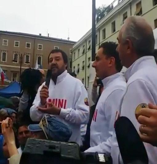 Al comizio di Salvini il candidato Pecci resta senza voce