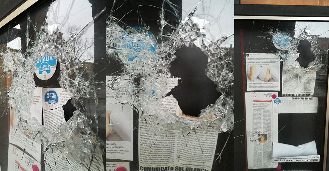 Continuano le intimidazioni a Matteo Montevecchi: sfondata la bacheca e strappata la sua fotografia