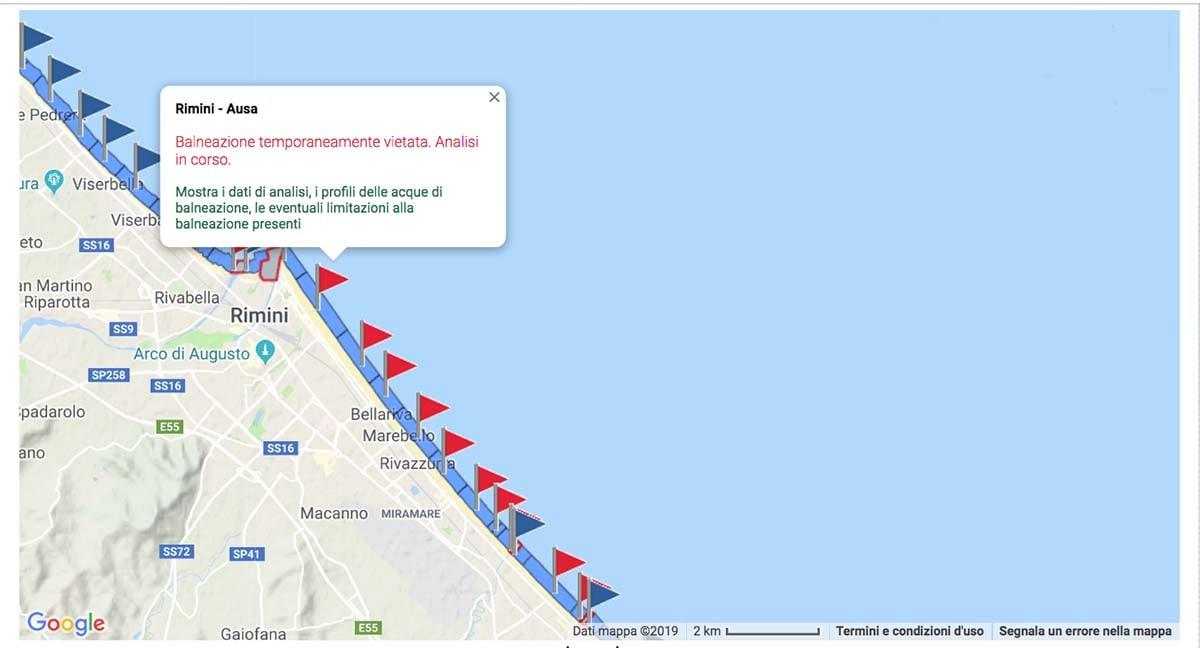 Balneazione vietata o sconsigliata in 23 specchi d'acqua della regione