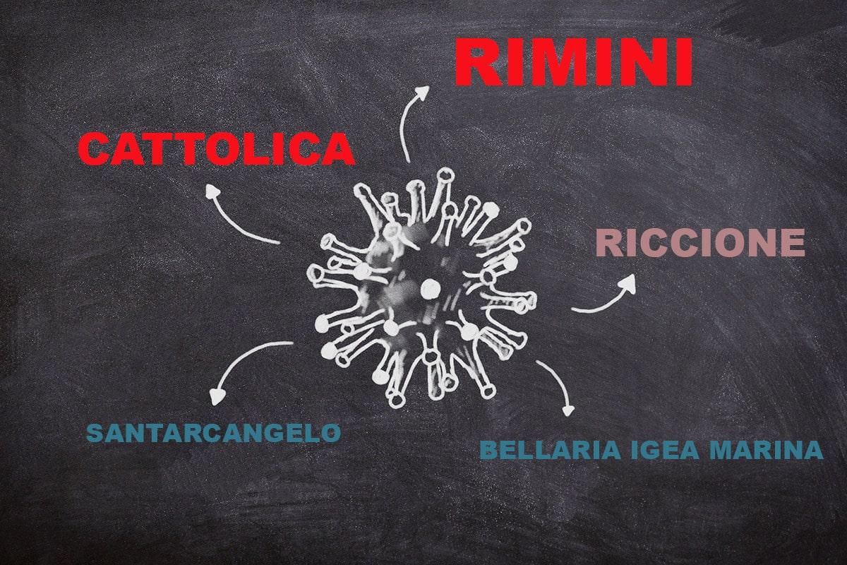 A Rimini e Cattolica i positivi continuano a crescere, Bellaria e Santarcangelo ormai stabili