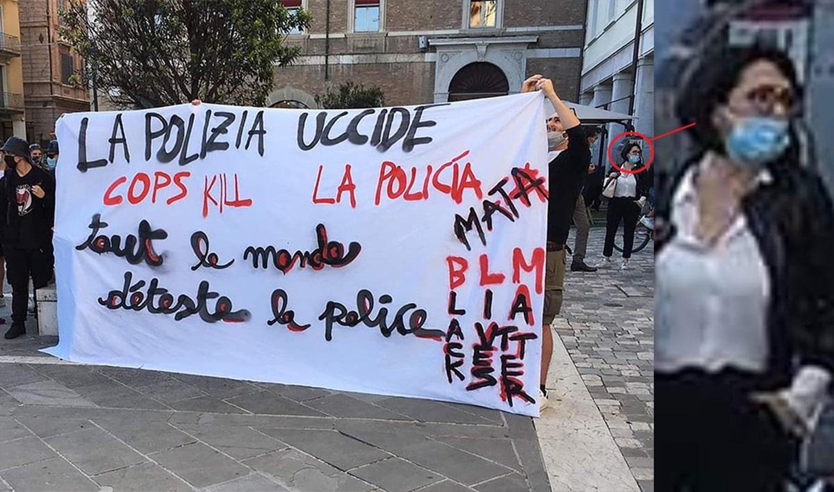 """Emma Petitti dietro allo striscione """"la polizia uccide"""": la Lega insorge"""
