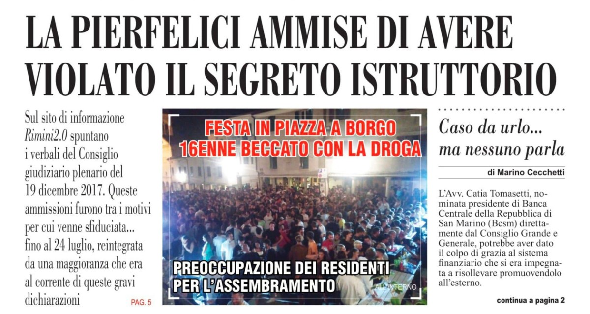 "L'inchiesta sammarinese di Rimini 2.0 su ""L'informazione"""