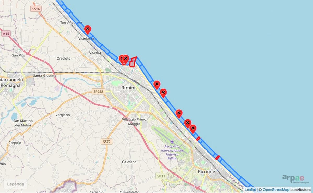 Ci risiamo: otto zone vietate alla balneazione a Rimini