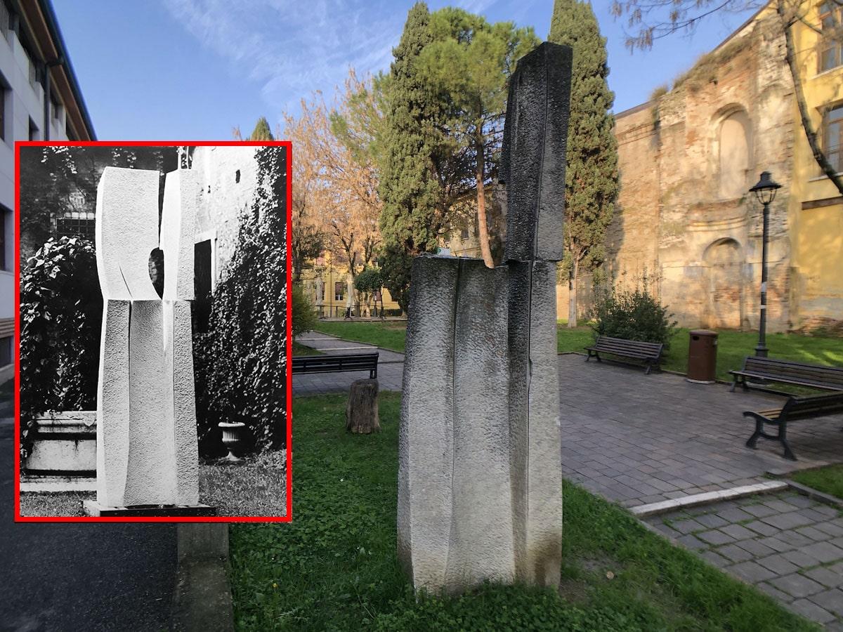 """Piazzetta Teatini: la scultura """"decapitata"""" (da circa 40 anni)"""